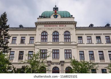 Elementary school in Frydek-Mistek, Moravian-Silesian Region of Czech Republic - Shutterstock ID 1168025101