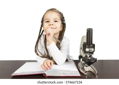 Elementary school girl  work on science project
