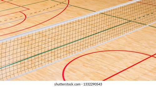 elementary school gym indoor with volleyball net