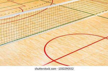 elementary school gym indoor with volleyball net