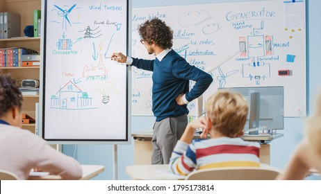 Elementary School Physics Teacher Uses Interactive Digital Whiteboard to Show to a Classroom full of Smart Diverse Children how Renewable Energy Works. Science Class with Kids Listening