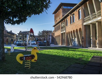 "elementary school playground in a small italian countryside village named ""Carbonara Scrivia"" in Alessandria province in Italy - Carbonara Scrivia 22 November 2016"