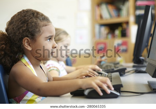 Elementary School Pupil In Computer Class
