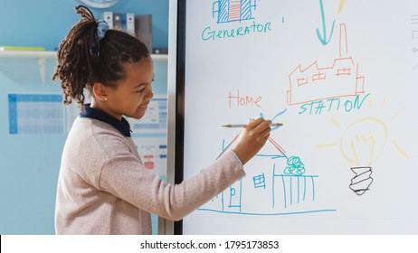 Elementary School Science Class: Portrait of Cute Girl Uses Interactive Digital Whiteboard to Show to a Full Classroom how Renewable Energy Works. Science Class, Curious Kids Listening.