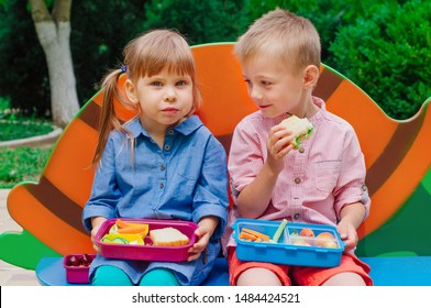 Elementary school students boy and girl eating lunch of sandwich, fresh vegetables and berries from lunch box sitting outdoor during breaktime