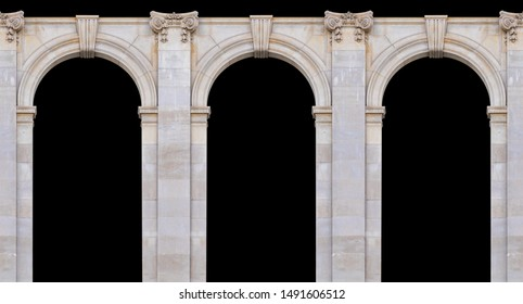 Elements of architectural decoration of buildings, arches and colonnades, columns and capitals, patterns and stucco molding. On the streets in Barcelona, public places. - Shutterstock ID 1491606512