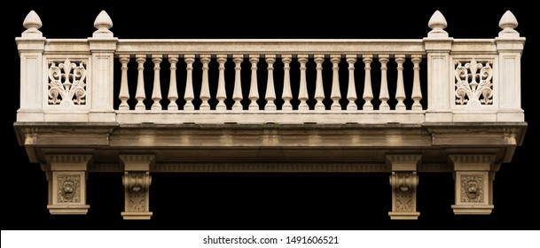Elements of architectural decoration of buildings, arches and colonnades, columns and capitals, patterns and stucco molding. On the streets in Barcelona, ​​public places.