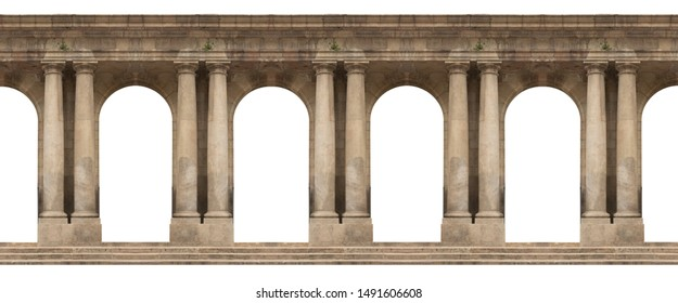 Elements of architectural decoration of buildings, arches and colonnades, columns and capitals, patterns and stucco molding. On the streets in Barcelona, public places. - Shutterstock ID 1491606608