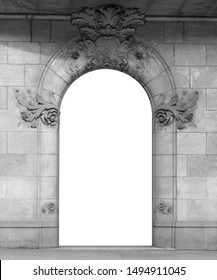 Elements of architectural decoration of buildings, arches and colonnades, columns and capitals, patterns and stucco molding. On the streets in Barcelona, public places. Black and white retro style.