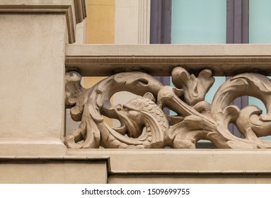 Elements of architectural decoration of buildings, balconies and windows, patterns and stucco molding. On the streets in Catalonia, public places.