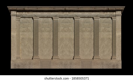 Elements of architectural decorations of buildings, columns and tops, gypsum stucco molding, wall texture and patterns. On the streets in Catalonia, public places. - Shutterstock ID 1858505371