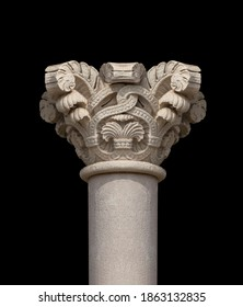 Elements of architectural decorations of buildings, columns and capitals, gypsum moldings, wall textures and patterns. On the streets in Barcelona, public places.