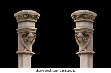 Elements of architectural decorations of buildings, columns and tops, gypsum stucco molding, wall texture and patterns. On the streets in Barcelona, public places.