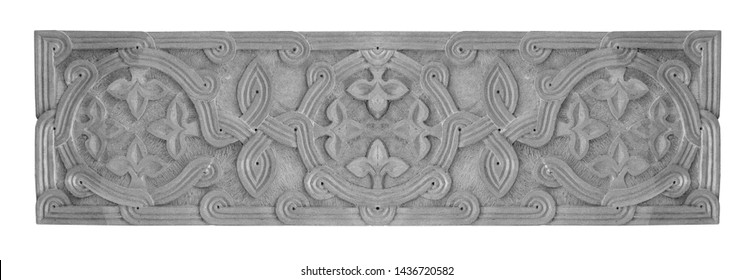 Elements of architectural decorations of buildings, gypsum stucco, wall texture, plaster molding and patterns. On the streets in Georgia, public places.