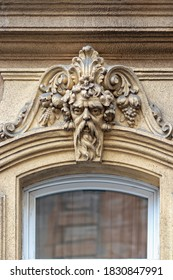 Elements of architectural decorations of buildings, gypsum stucco, plaster ornament. On the street of Budapest, public places.