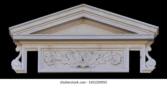 Elements of architectural decorations of buildings, sandrik over balconies and windows, gypsum stucco. On the streets in Georgia, public places.