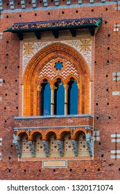 Elements of the architecture of the ancient Castle of Sforza in Milan Italy.
