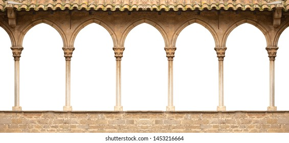Elements of architecture of buildings, ancient arches, columns, windows and apertures. On the streets in Catalonia, public places.