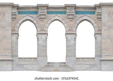 Elements of architecture of buildings, ancient arches, columns, windows and apertures. On the streets in Istanbul, public places.