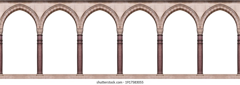 Elements of architecture of buildings, ancient arches, columns, doors and apertures. On the streets in Istanbul, public places. - Shutterstock ID 1917583055