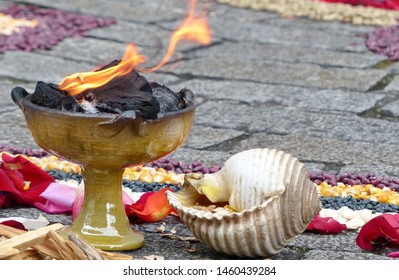 Elements of Chacana (Chakana) or Ceremony in homage to Pachamama (Mother Earth) - bowl with fire and sea shell - is an aboriginal ritual of the indigenous peoples of the central Andes, Ecuador