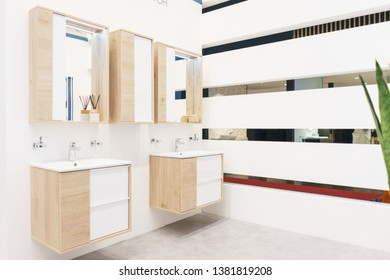 Elements and details of the bathroom in a modern apartment. Furniture and plumbing. Modern stylish accommodation.