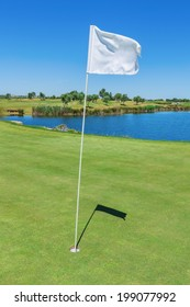 Elements of a golf course flag and hole. Vertical format.