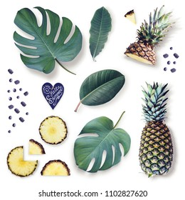 Elements of isolated tropical leaves, pineapple and berries. Top view. Copy space.  Flat lay.