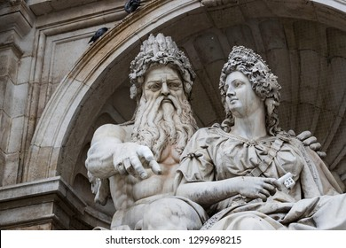 Elements of the Neptune statue in the Albertina Palace Museum in Vienna. Austria.
