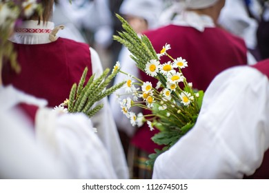 Elements of ornaments and flowers. Song and dance festival in Latvia. Procession in Riga. Latvia 100 years.