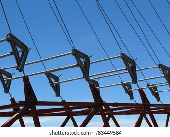 Elements of suspension bridge, abstract industrial pattern