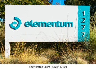 Elementum sign and logo. Elementum is the software-as-a-service company behind the first cloud-native supply chain orchestration platform - Mountain View, California, USA - 2019