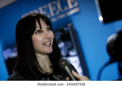 Elena Kountoura Minister of Tourism visits the Greek Tourism Organisation branch in Brussels Holiday Fair in Brussels, Belgium on February 1, 2018.