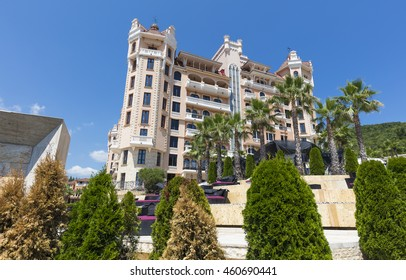 ELENITE, BULGARIA - JULY 16, 2016: Royal Castle Hotel, the first 5 star superior luxury hotel on the Black Sea Coast opened in 2011, owned by Victoria Group.