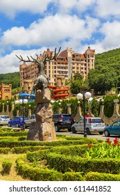 ELENITE, BULGARIA - JULY 16, 2016: Main Square of The Elenite Holiday Village, lying just 10 km North of Elenite Holiday Village offers stylish villas and hotel accommodation