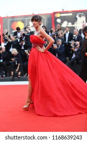 Eleonora Carisi walks the red carpet ahead of the opening ceremony during the 75th Venice Film Festival at Sala Grande on August 29, 2018 in Venice, Italy.