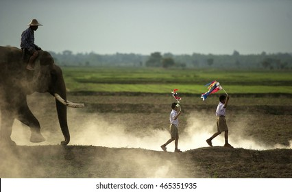 Elephan with mahout walking follow two students holding a koi flag japanese