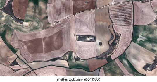 Elephant, allegory, tribute to Matisse, Picasso, abstract photography of the Spain fields from the air, aerial view, representation of human labor camps, abstract, cubism,abstract naturalism