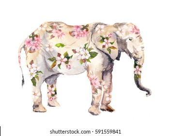 Elephant animal in flowers. Watercolor