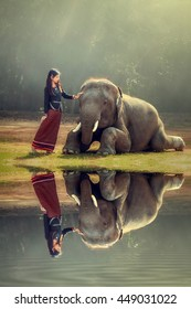 Asian girl goes on safari