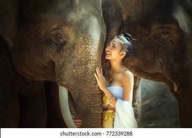 Elephant and asian girl.