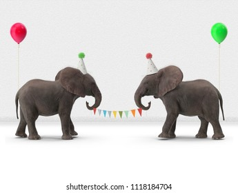 elephant with balloons and flags on string