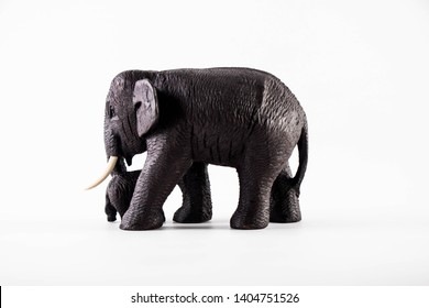 Elephant carving crafts from teak in Thailand
