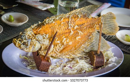 elephant ear fish grilled, a specialty on the Mekong Delta in Vietnam