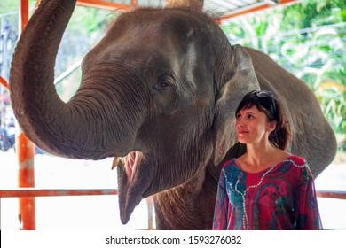 elephant farm, girl with an elephant, young caucasian woman feeding an elephant.