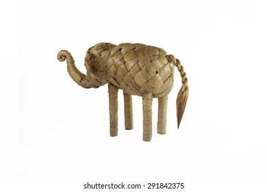 elephant figure toy weave from weed on white background.
