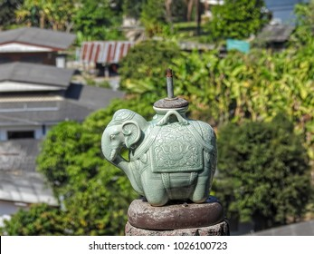 Elephant green porcelain lamp  with roof of village down the mountain
