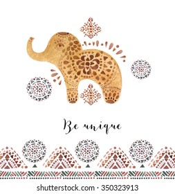 Elephant illustration  in Indian style. Can be used as a greeting card.