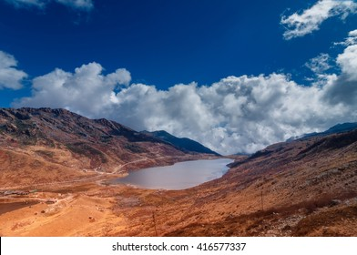 Elephant Lake, named due to it's shape as a lying elephant, remote high altitude lake at kupup Valley, Sikkim. Himalayan mountain range, Sikkim, India