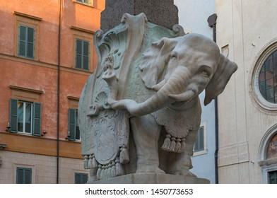 Elephant obelisk, Obellisco della Minerva on Piazza della Minerva landmark sculpture in Rome, Italy